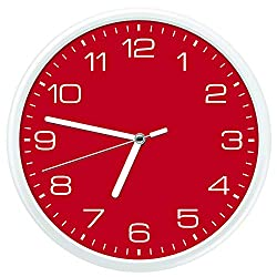 Essentially Yours Large 12 Inch Non Ticking Modern Wall Clock with Silent Sweeping Movement, Battery Operated and Included | Bedroom, Living Room Décor, Red