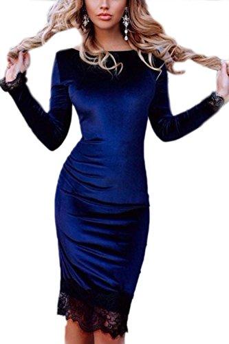 Vestido La Terciopelo De Delgado Azul De Mujer Elegante Fiesta Bodycon Patchwork Encaje De qExqgU8r