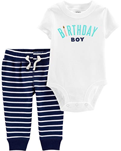 Carter's Baby Boys' 2-Piece Bodysuit Pant Sets (Navy/White/Birthday, 18 Months) ()