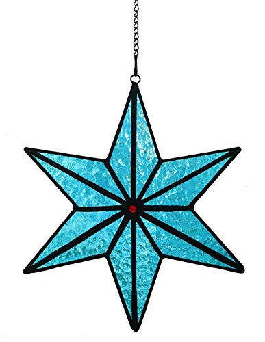 Alivagar Stained Glass Holiday Decor Suncatcher Ocean Snowflake Ornament, 6