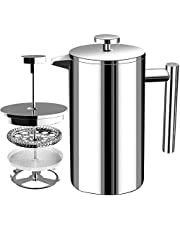 KICHLY French Press, 100% Stainless Steel Double Walled Insulated Coffee Press with Fine Filters, Espresso & Tea Maker 32 Oz