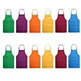 Total 12 Pcs Plain Color Bib Apron with 2 Pockets Painting Event Party BBQ Cooking Kitchen Aprons for Women Men Adults Chef