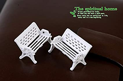 Seat Miniature Decor White Park Bench Seat Miniature Micro Landscape DIY Garden Ornaments Yard Decor Accessories Supplies(L-White)