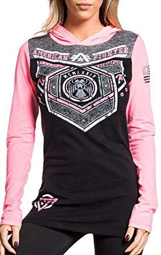 American Fighter Brevard Long Sleeve Sport Graphic Fashion Hooded T-shirt Top By Affliction