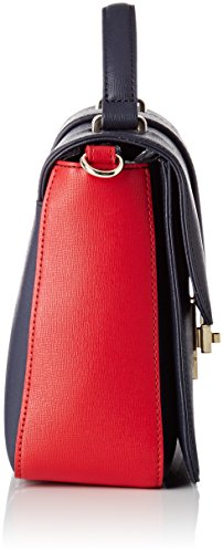Tommy Hilfiger Th Heritage Top Handle Satchel - Borse a tracolla Donna, Bleu (Navy/red), 8x19x24 cm (W x H L)