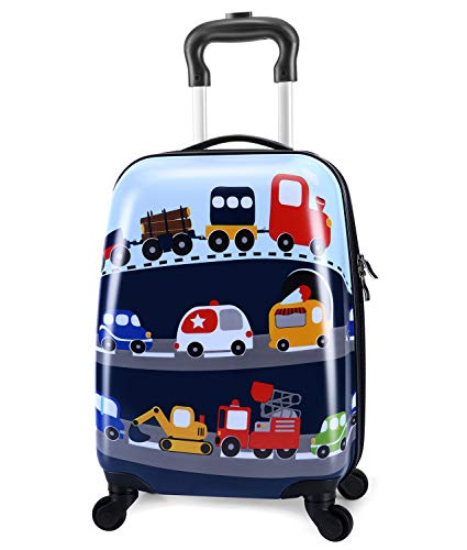 Lttxin cute kids suitcase pull along boys travelling with 4 wheel hard shell 18 inch for boys veholes ()