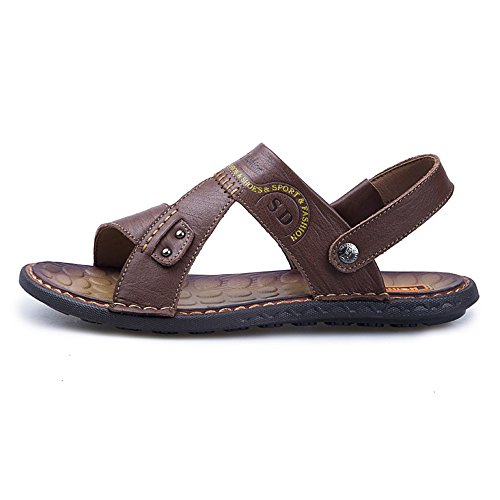 Scarpe all'aperto Brown da Color morbidi spiaggia 43 piatti ambulante uomini Sandali 2018 per regolabile EU Backless l'escursione Size Brown uomo cuoio Scarpe di della genuini degli TwCP1