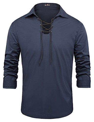 - PAUL JONES Men's Kilt Shirt Drawstring Around Neckline Long Sleeve S Navy Blue