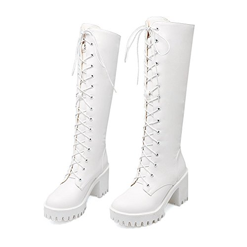 White Mid Top Lace Allhqfashion High up Heels Women's Solid Boots qBwxznRtx