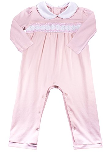 Baby Girls' 100% Organic Pima Cotton Layette - Hand Smocked Pink Footless Overall 3-6 Months