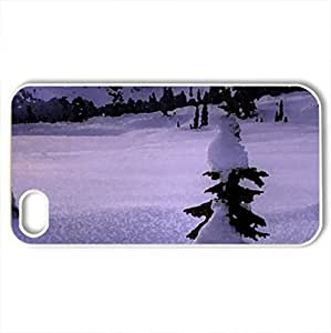Snowy landscape - Case Cover for iPhone 4 and 4s (Winter Series, Watercolor style, White)
