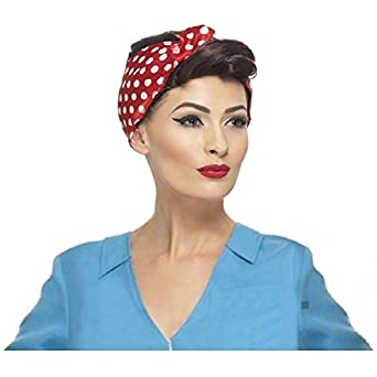 Vintage Hair Accessories: Combs, Headbands, Flowers, Scarf, Wigs Rosie The Riveter  Wig Adult 40s WW2 Halloween Fancy Dress $37.17 AT vintagedancer.com