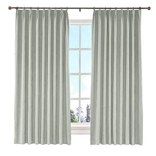 Pleated Button Valance - cololeaf Beige Grey Cotton Blackout Lined Curtains, 2 Layers Pinch Pleated Curtains Blackout Thermal Insulated Window Treatment Panel for Living Romm Bedroom, 84