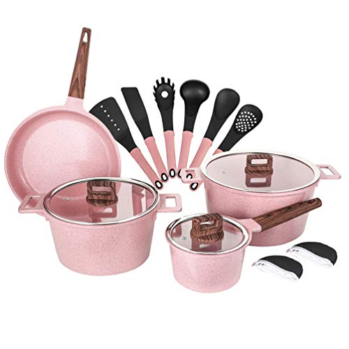Ceramic Cookware Sets Dishwasher Safe Scratch Resistant PFOA Free Nonstick Induction Kitchen Aluminum Cookware Set with Cooking Utensil Pack -16 - Pink Marble Handle