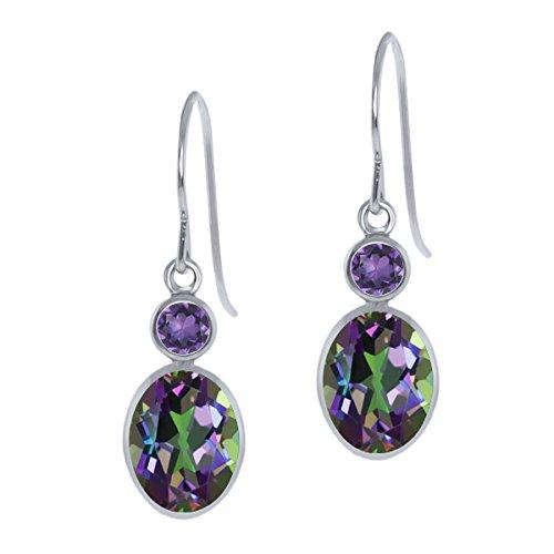 3.40 Ct Oval Green Mystic Topaz Purple Amethyst 14K White Gold Earrings