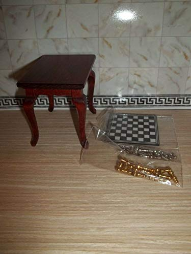 CHESS SET WITH SMALL TABLE - DOLL HOUSE MINIATURE