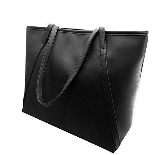 Softmusic Women Big Faux Leather Zipper Solid Color Shopping Tote Handbag Shoulder Bag size 42cm x 33cm x 24cm (Black) -