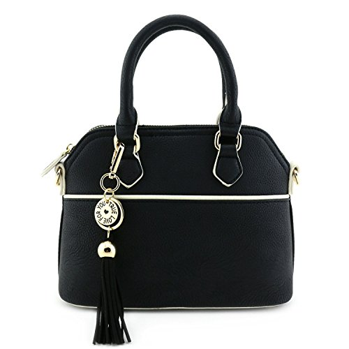 Mini Dome Satchel Crossbody Bag with Tassel Accent Black
