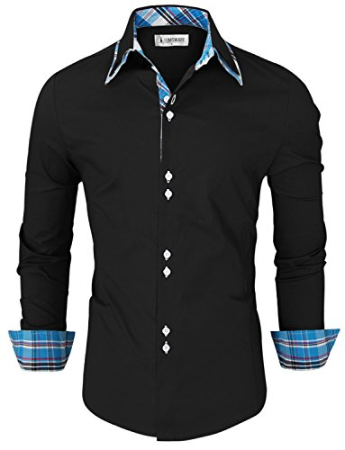Tom's Ware Mens Trendy Slim Fit Inner Checkered Button Down Shirt TWNMS323S-BLACK-US XL