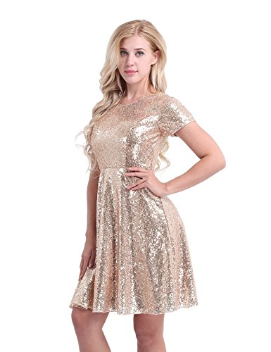 Women's Cocktail Party Gold Sleeve line Evening Sequins CHICTRY Dress A Short Bridesmaid TFw6g6Cq