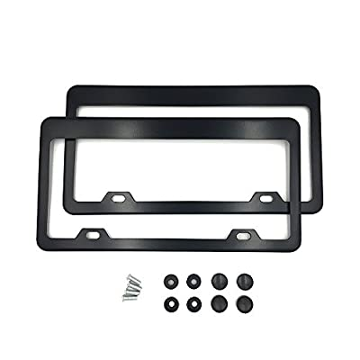 Indeedbuy 2 Holes Matte Black Stainless Steel License Plate Frame Wide Bottom Cover(Pack of 2)