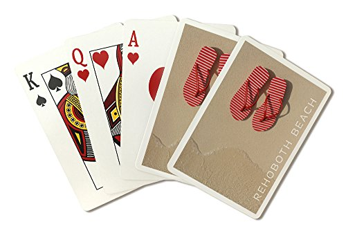 Rehoboth Beach, Delaware - Red Flip Flops in Sand (Playing Card Deck - 52 Card Poker Size with Jokers)