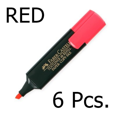 faber-castell-textliner-highlighter-red-color-1-5-mm-pack-of-6-ship-with-tracking-number