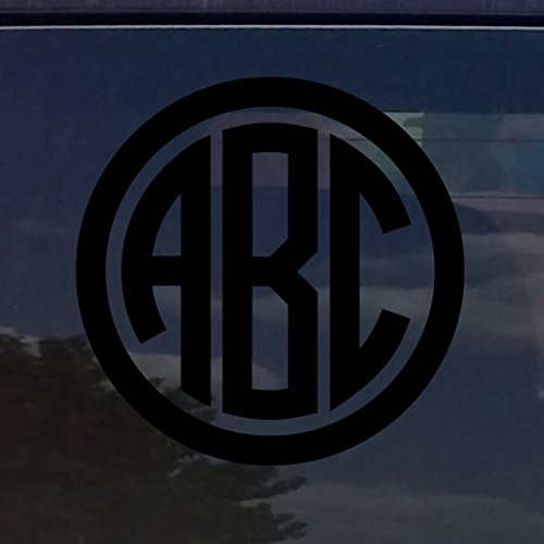 CUSTOM CIRCLE MONOGRAM INITIALS VINYL DECAL / STICKER CARS Y