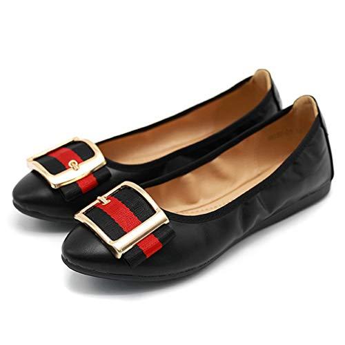 Lambskin Platforms Leather (CYBLING Womens Pointy Toe Foldable Ballet Flat Buckle Slip On Soft Walking Flats Shoes)