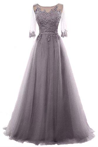 Vickyben Damen A-Linie langes Schnuerung Prinzessin Tuell Abendkleid Ballkleid brautjungfer Cocktail Party kleid grau tief