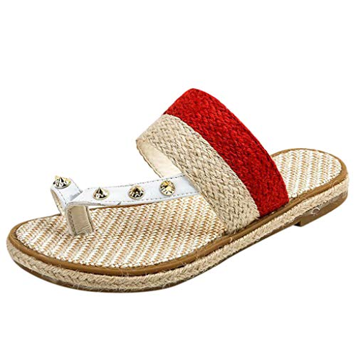 (NEARTIMEWomen's Boho Sandals-Ladies Summer Slip-On Flat Slippers Weaving Open Toe Breathable Casual Rome Shoes)