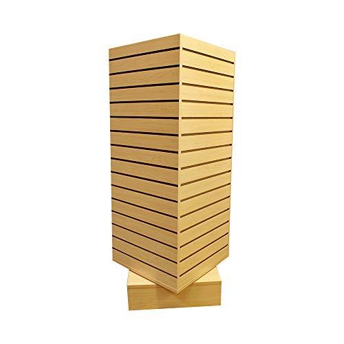 - PROLINEMAX Maple 20'' x 20'' x 54'' Revolving Slatwall Floor Display Rotating Cube Tower 4 Sided Retail Fixture