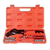 IWISS IWS-1234W Angel Combo PEX Pipe Crimping Tool Set for 1/2'&3/4' PEX Pipe with free Copper Rings&Cutter&Gauge for All US F1807 Standards - Portable Case