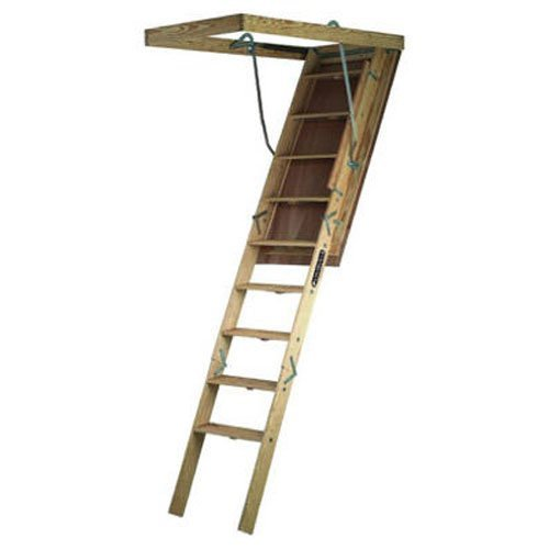 Louisville Ladder S305P Big Boy Wood Attic Ladder 30 Inch By 60 Inch  350 Pound Capacity Up To 8 Foot 9 Inch Ceiling Height