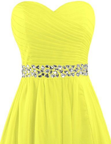 Cocktail Dress Crystal Gown Women's Party Short ANTS Chiffon Yellow Strapless FwIX4A