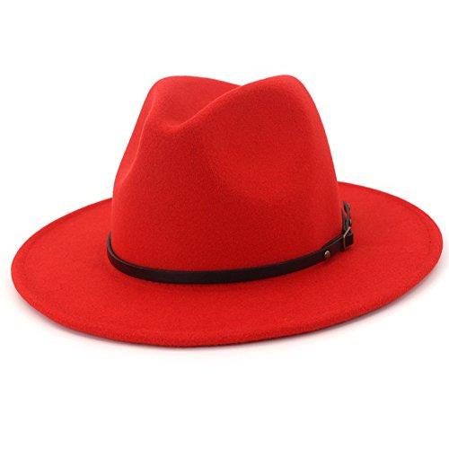 Lisianthus Women Wide Brim Wool Fedora Panama Hat with Belt Buckle Red