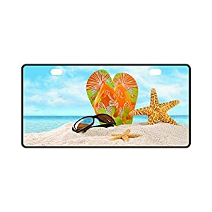 Valentine's Day Gifts Sunglasses Flip Flops Starfish On Beach Design Durable License Plate Frame Metal Personalized Car Tag 11.8 X 6.1 inches (2 Holes)