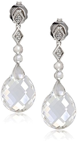 Sterling Silver White Quartz Briolette with Diamond Accent Drop Earrings