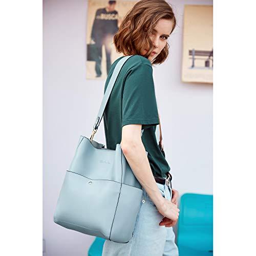 BOSTANTEN Women's Leather Designer Handbags Tote Purses Shoulder Bucket Bags 2