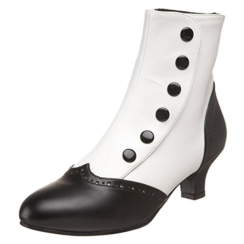 Tone Two Snap (2 Inch Heel Two-Tone Button Snap Spat Sexy Spectator Ankle Boot Red White Black Size: 12 Colors: Black/White)