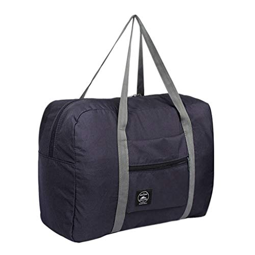 ONLY TOP Foldable Travel Duffel Bag Luggage Sports Gym Water Resistant Nylon Dark Blue