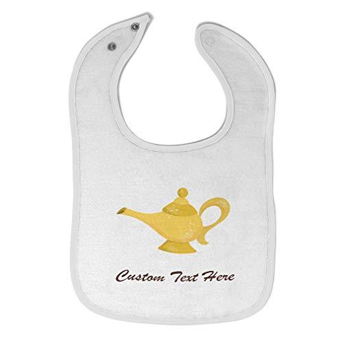 Custom Baby Bibs Burp Cloths Genie Lamp Cotton Baby Items for Baby Girl & Boy White Custom Text Here