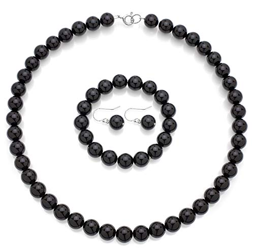 lry Set of 10mm Simulated Black Onyx Necklace, Strech Bracelet and Wire Dangle Earrings ()
