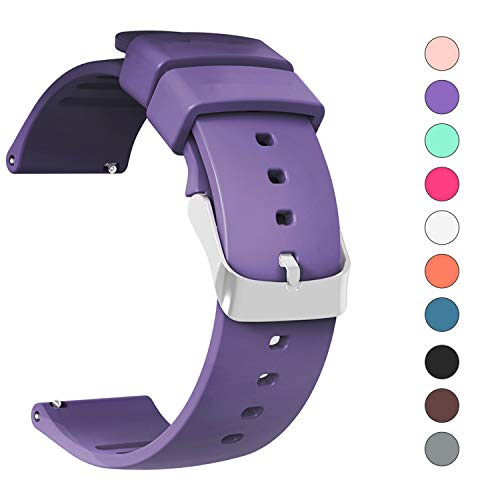 (IELIELE Compatible 20mm Watch Band, Waterproof Replacement Wristbands Straps for Samsung Gear S2 Classic/Withings (Nokia) Steel HR 40mm/ Galaxy Watch 42mm (Purple, 20mm))