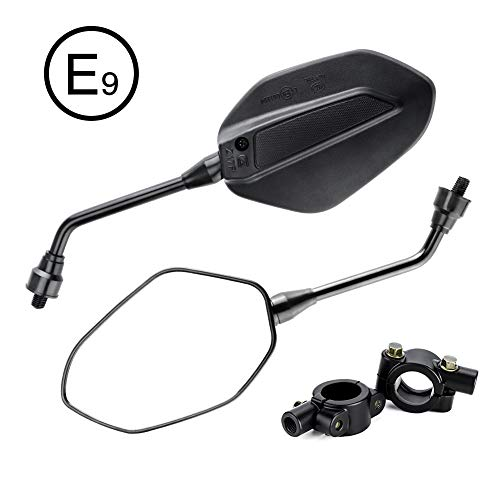 "KEMIMOTO 2Pcs Universal Motorcycle Mirrors Black with 10mm Bolt, 7/8"" Handle Bar Mount Clamp Adapter M10 Convex Rearview Rear View Mirrors for Kawasaki, Suzuki, Honda, Victory, Cruiser, Scooters, BMX"