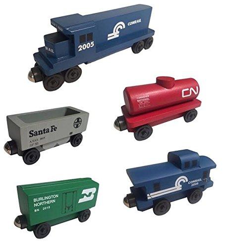 (Whittle Shortline Railroad - Manufacturer Conrail Railway GP-38 Diesel 5pc. Set - Wooden Toy Train )