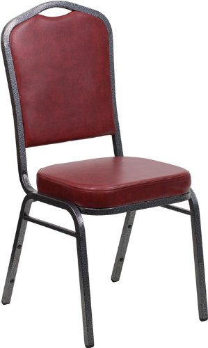 picture of FlashFurniture FD-C01-SILVERVEIN-BURG-VY-GG Hercules Series Crown Back Stacking Banquet Chair with Burgundy Vinyl and 2.5-Inch Thick Seat, Silver Vein Frame