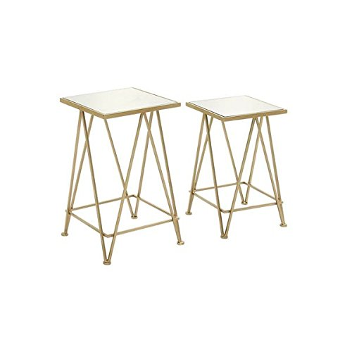 Metal Mirror Accent Table (Set of 2), Made of Aluminum, Iron