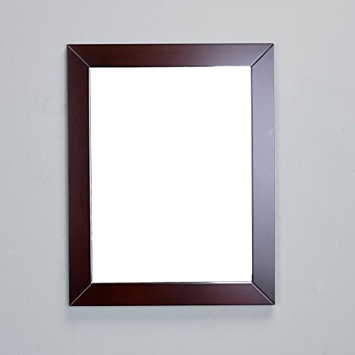 Eviva EVMR514-48X30-TK New York Bathroom Vanity Mirror Full Frame 48'' x 31'' Wall Mount, Teak/Brown by Eviva
