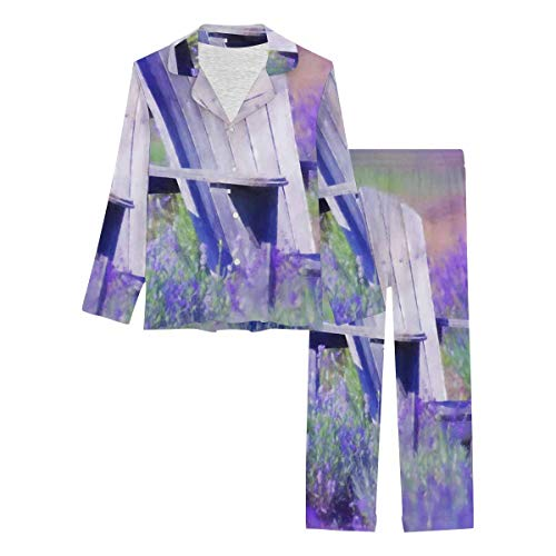 InterestPrint Long Sleeve Button Down Nightwear with Long Pants Old Purple Chair